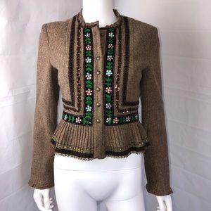 Nanette Lepore Brown Tweed Wool Blend Jacket 6